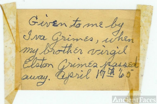 NOTE FROM GRIMES ELSTON PHOTO ALBUM