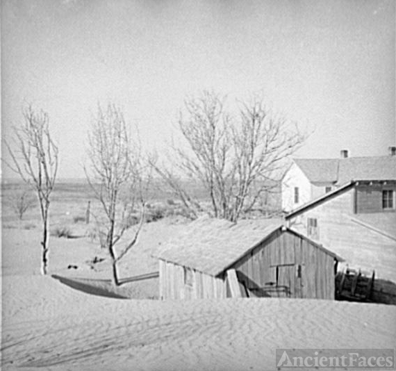 Kansas Farm covered by Dust Bowl, 1936