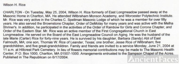Wilson Rice Obituary