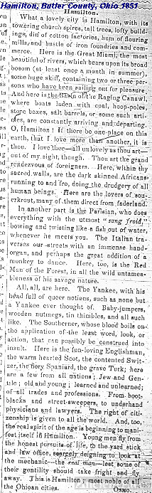 Story in Hamilton, Ohio's 1851 newspaper