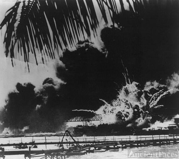 U.S.S. Shaw Burning at Pearl Harbor
