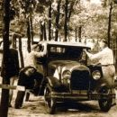 "Clinton, Howard L. & Howard M. Alexander Working on ""The Bruise"" 1930 Ford Coupe"