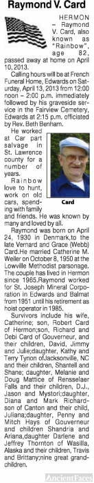 Raymond V. Card Obituary