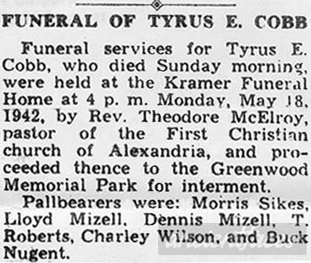 Tyrus Ellis Cobb (Sr) Obituary 1942