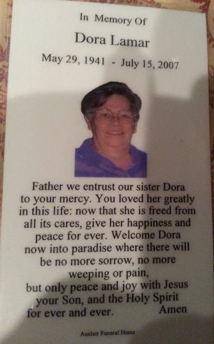 Dora L Lamar obituary