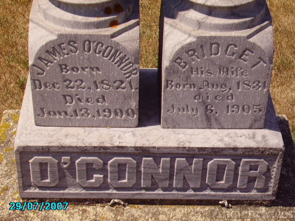 Gravestone of James and Bridget (Jennings) O'Connor