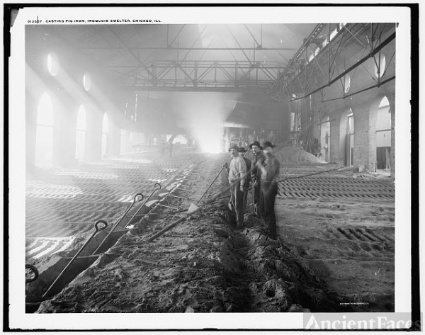 Casting pig iron, Iroquois smelter, Chicago