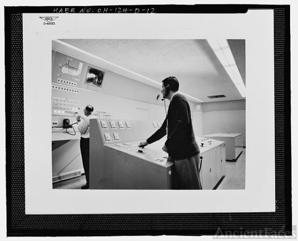 12. Historic view of Building 100 control room, showing...