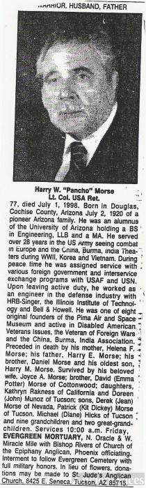 Harry Wiel Morse (Pancho) Obituary