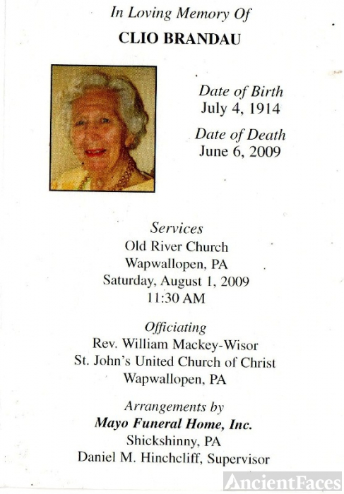 Pennsylvania Obituary, Clio Brandau
