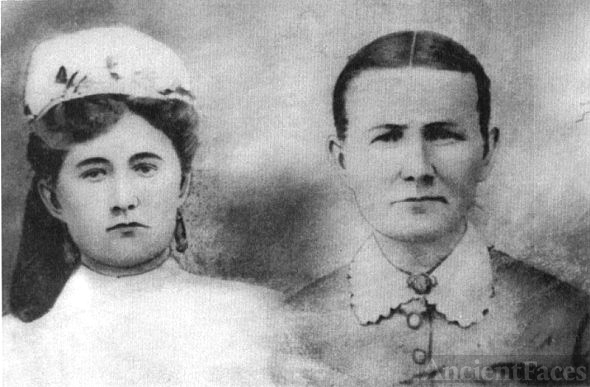 Mary Alice Jane Jones's Grandmother, Mary Hayes Keys & Aunt Elisa Keys O'Neal at age 16 (handpainted by Redmon artist in 1873