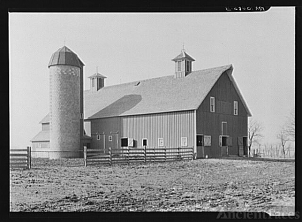 Barn and silo on the owner-operated farm of two hundred...