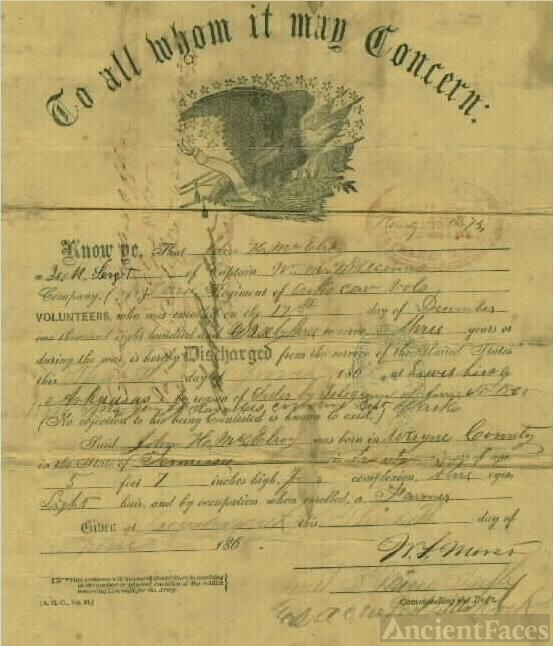 John H. McElroy Civil War Discharge Paper