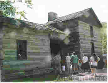 The Sheeks House at the Spring Mill State Park Pioneer Village in Lawrence Co, Indiana, View 1
