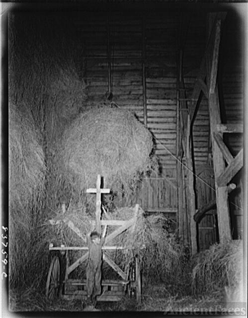 Fort Kent, Maine (vicinity). Hauling hay up into the barn...