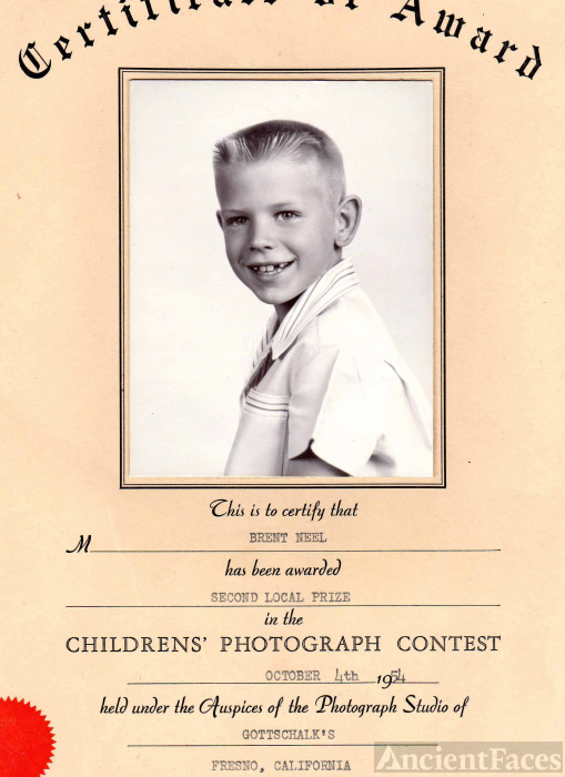 Brent Neel, 1954 Photography Prize & certificate