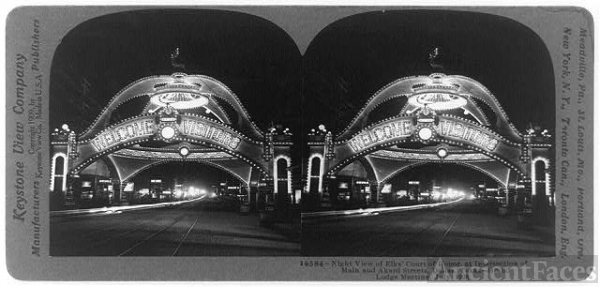 Night view of Elks' Court of Honor, at intersection of...