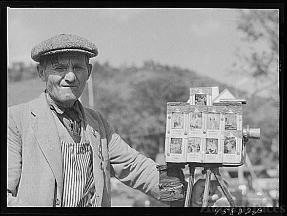 Tintype photographer at the World's Fair at Tunbridge,...