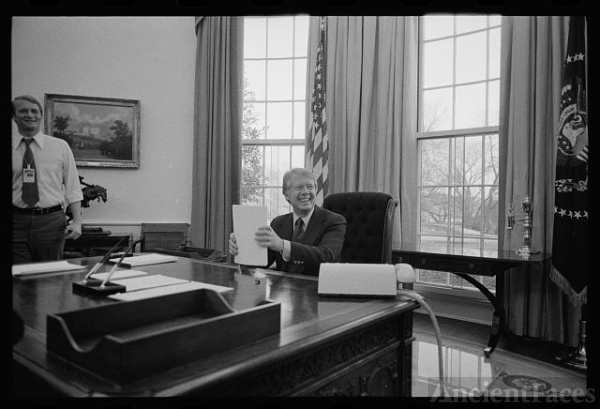 [President Jimmy Carter working on a speech for...