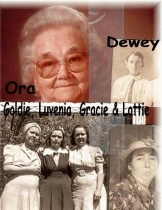 A photo of Ora,Dewey,Goldie,Luvenia,Gracie,Lottie Watson
