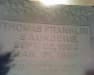 Gravestone of Thomas Franklyn Saunders