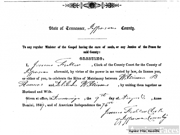 William Bannister Flowers / Delilah Williams Marriage License