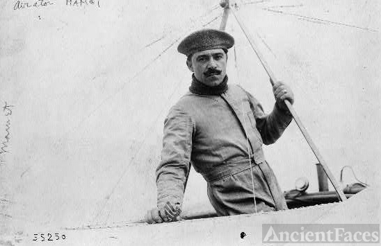 "[Aviator Nick Mamer in Blériot plane, at end of ""Circuit..."