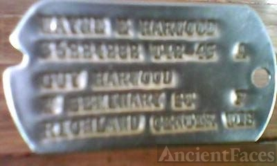 Wayne E Harwood dog tag