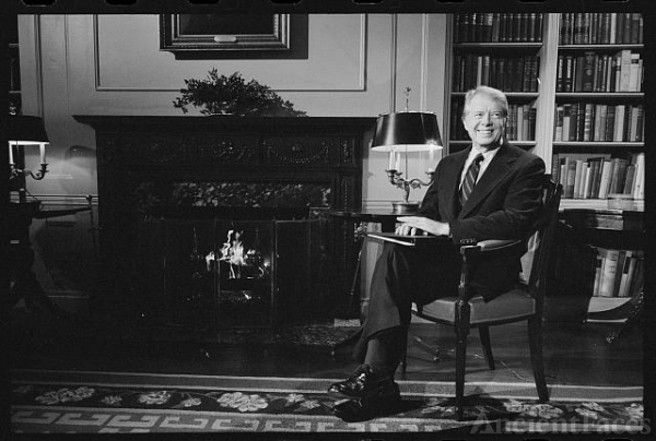 [President Jimmy Carter at the White House during a...