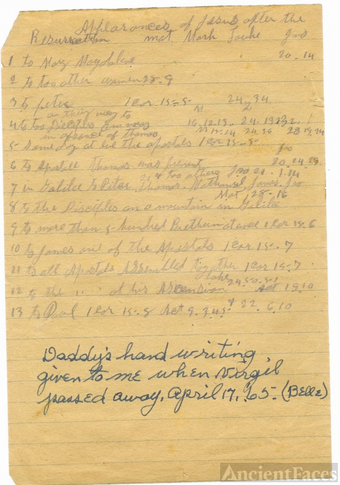 NOTE IN HAND OF VIRGIL MARKWOOD GRIMES-1 OF 2