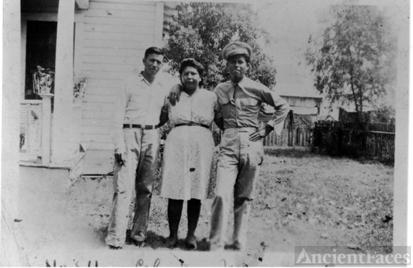 Ygnacio Zermeno with wife,Celia w/ Joe Zermeno home on leave