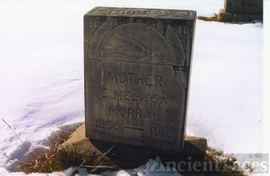 Looking West, A Close-Up of the Tombstone of Elizabeth Melissa (Carl) Murray (1856-1918), Wife of James Ellison Murray