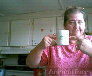 rose mary drinking coffee