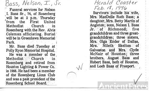 Obit of NELSON IVES BASS, SR.