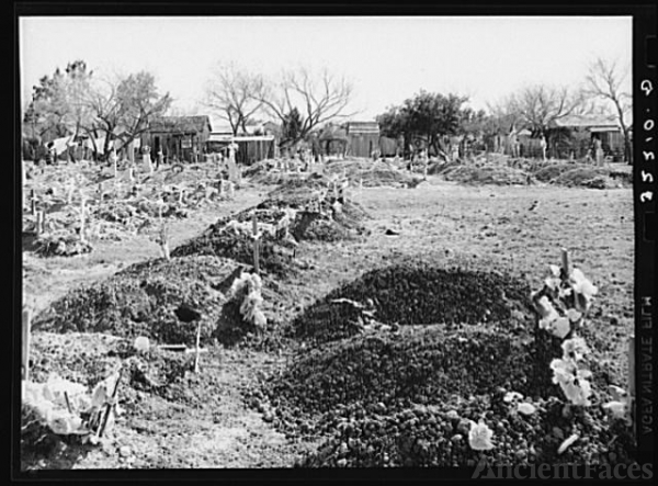 New Mexican graves in cemetery. Raymondville, Texas