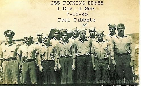 Paul Tibbets on USS Picking