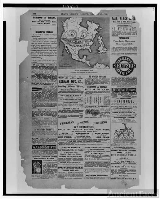 [Page of advertisements and a cartoon from Frank Leslie's...
