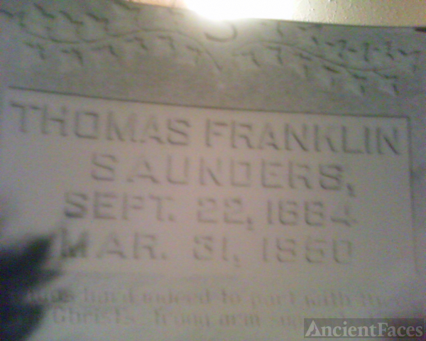 Gravestone of Thomas Franklin Saunders