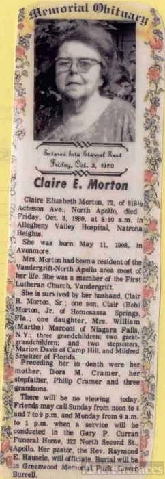 Obituary of Claire Elizabeth Morton
