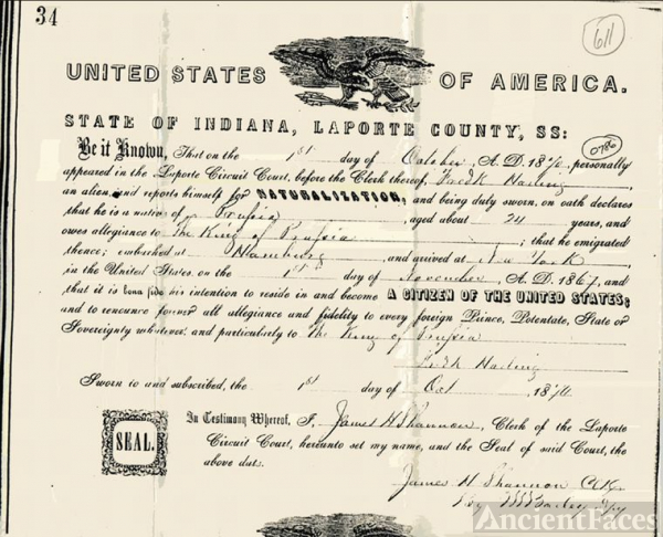 Fredrick Halling Naturalization Papers