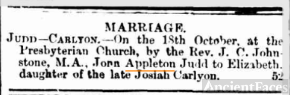 John Appleton Judd Marriage announcement