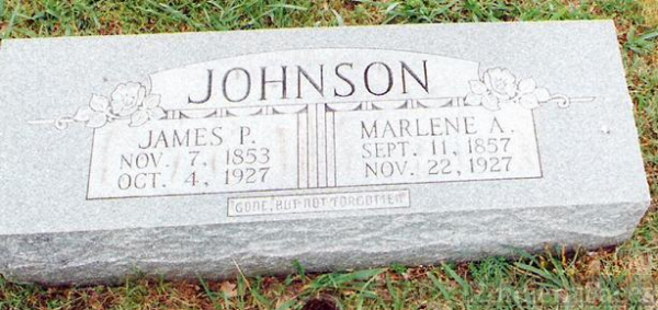 Tombstone of James Preston and Marlena Jane Johnson