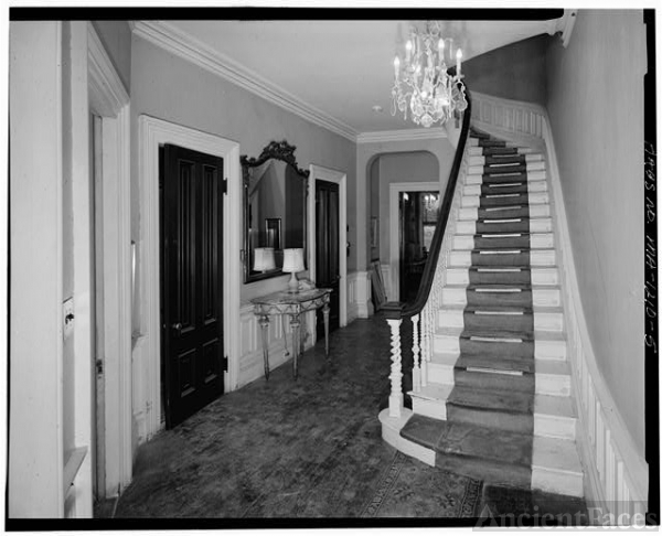 5. INTERIOR VIEW OF FIRST FLOOR STAIRWAY AND HALL, FROM...