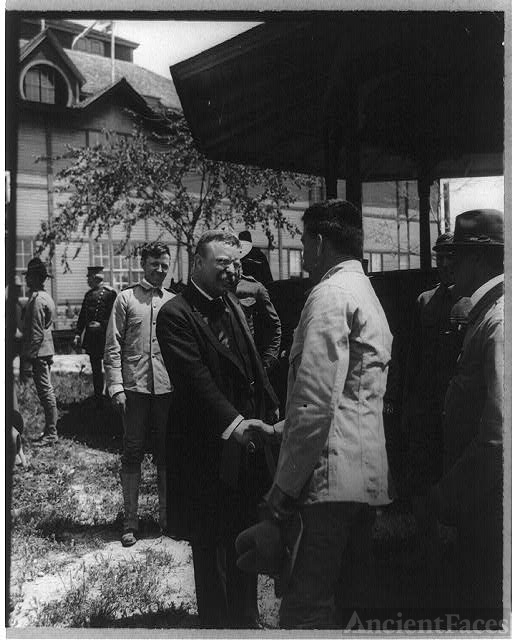 "[Pres. Roosevelt greeting ""the boys"" who fought in..."