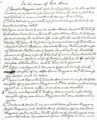 Will of Joseph Waggoner (page 1)