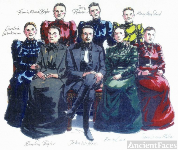 Drawing of John W. Hess & wives