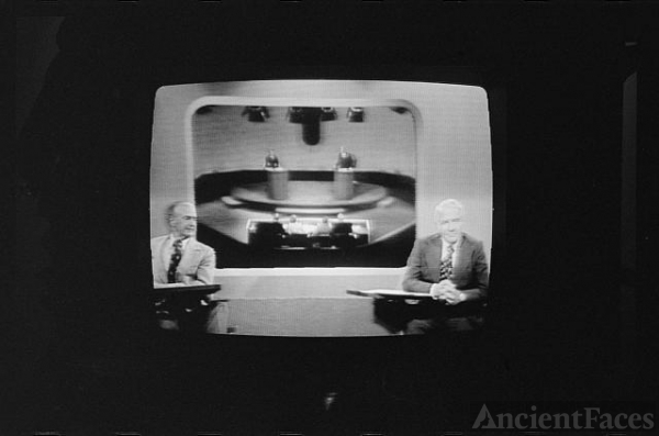 [Howard K. Smith and Harry Reasoner on television during...