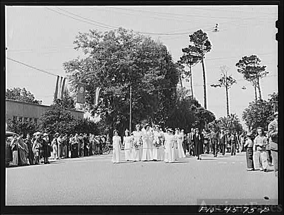 Queen and her court in the parade of the fiesta of the...