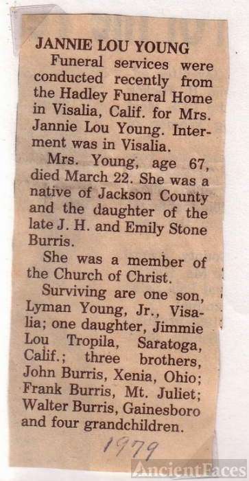 Jannie Lou BURRIS Young obit. 20 August 1911 - 22 March 1979