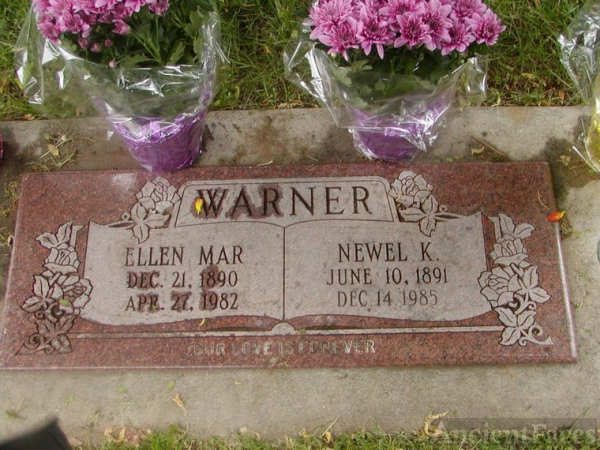 Gravestone Newell K Warner & Ellen Mar Johnson